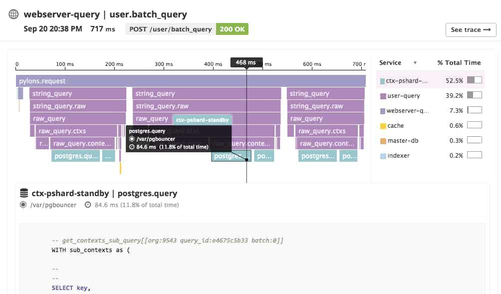 Datadog APM screenshot of a flame graph spanning hosts