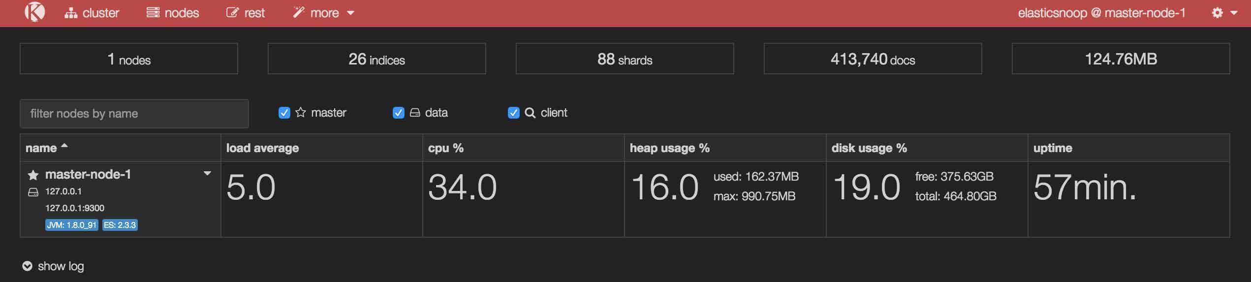 monitor elasticsearch metrics kopf overall stats