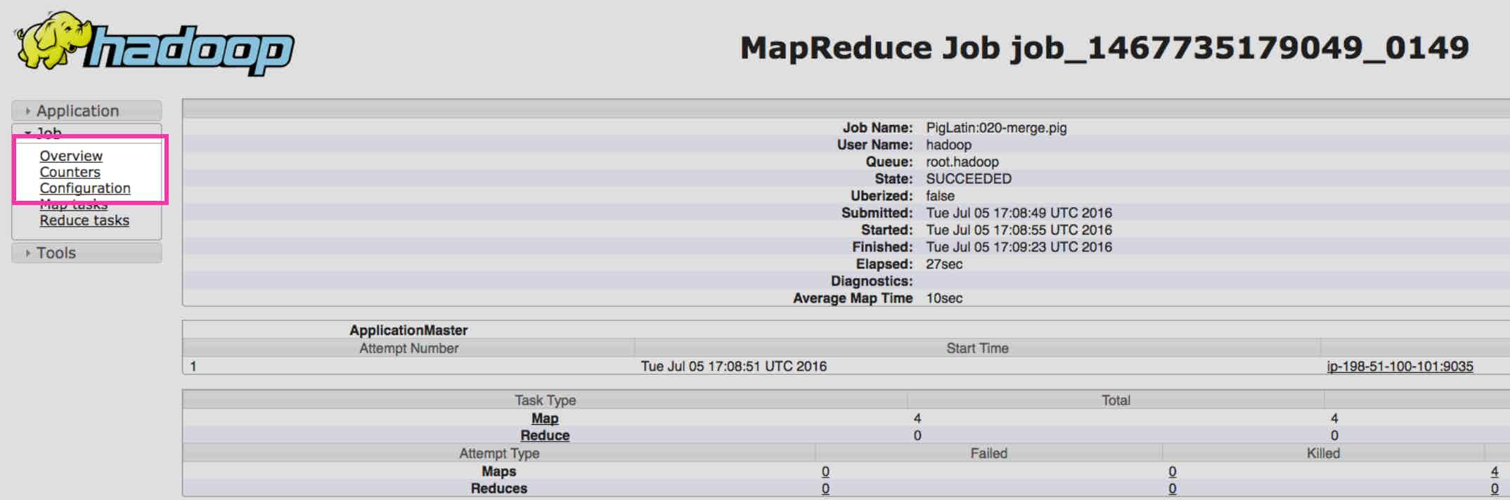 Hadoop YARN stats - MapReduce counter nagivation