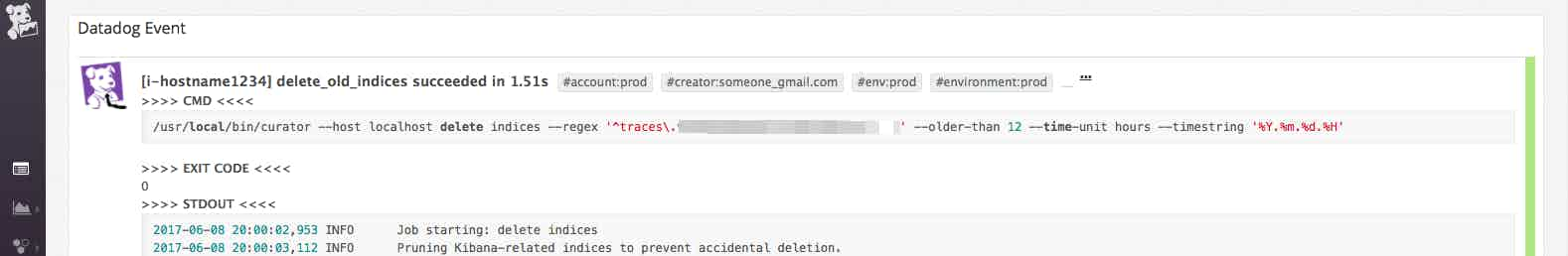 elasticsearch indices deleted event in Datadog event stream