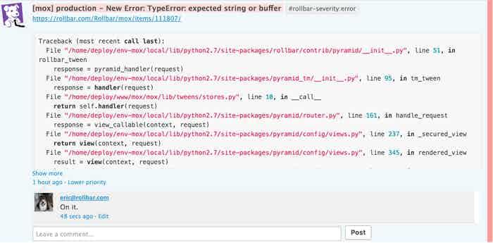 rollbar error monitoring