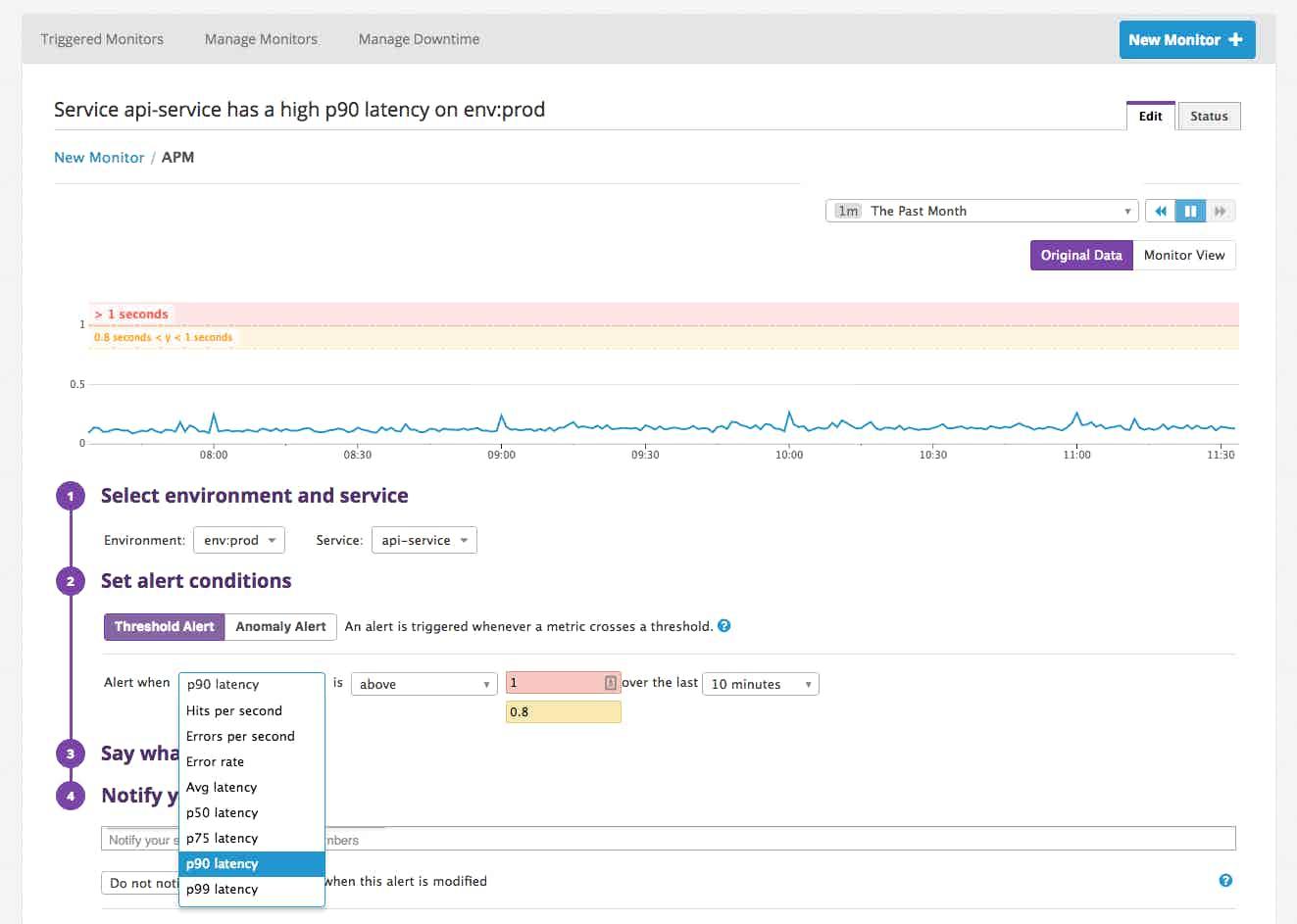 Datadog alert APM service-level monitor