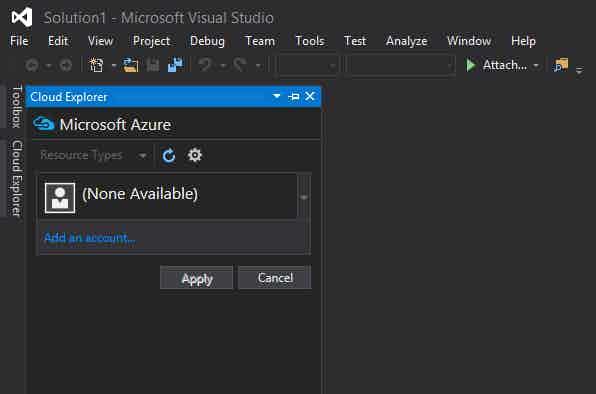Add Azure account to Visual Studio