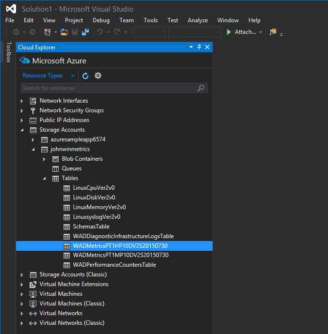 Azure metrics in storage