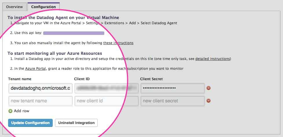 Azure config setup in Datadog