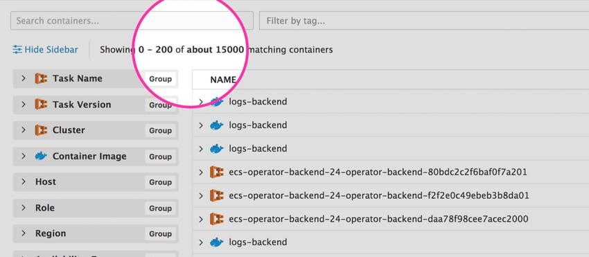 Monitoring thousands of containers
