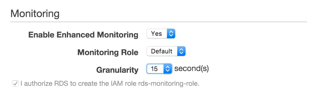 UI for enabling enhanced RDS monitoring