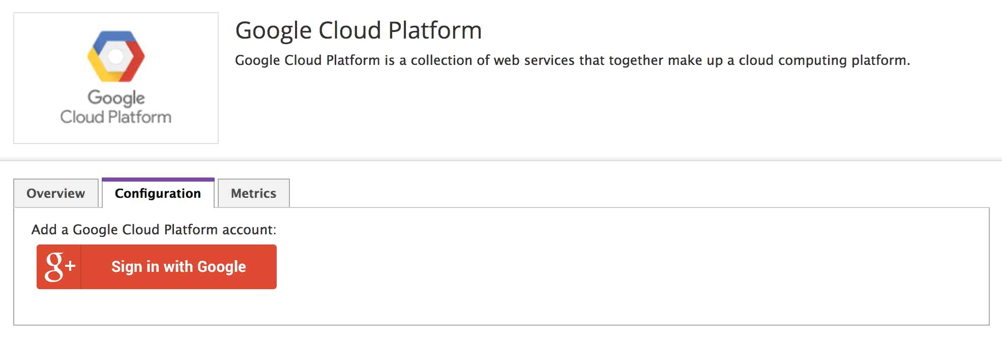 Integrating GCP with Datadog is as easy as signing into your Google account.
