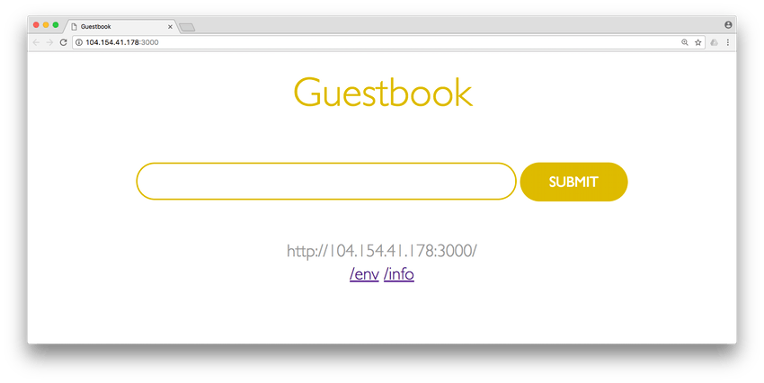 Simple guestbook app interface