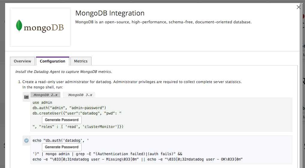 Monitor MongoDB graphs on Datadog