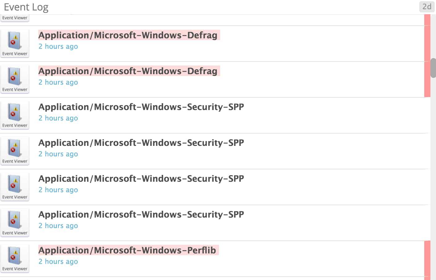 Windows Server 2012 monitoring - Event log snip