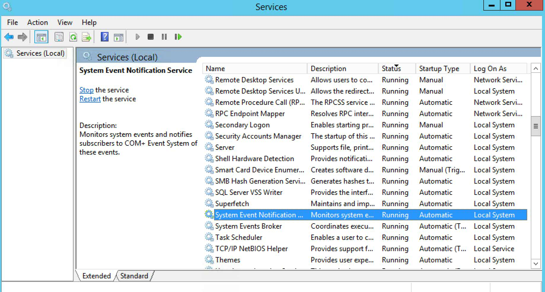 Windows Server 2012 monitoring -Services Snap-in