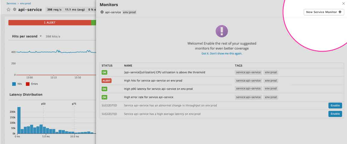 APM alerts in Datadog