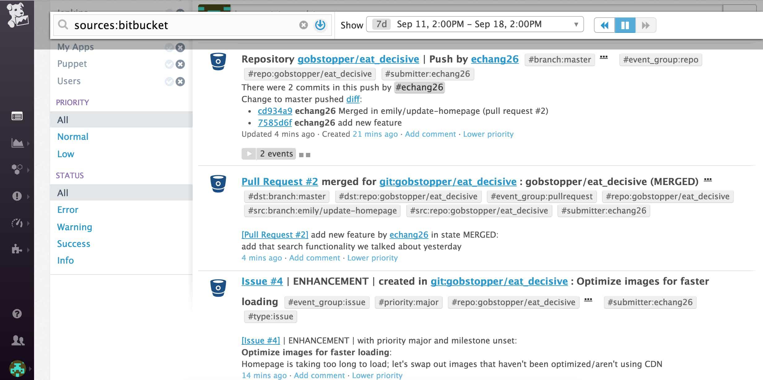 bitbucket datadog event stream