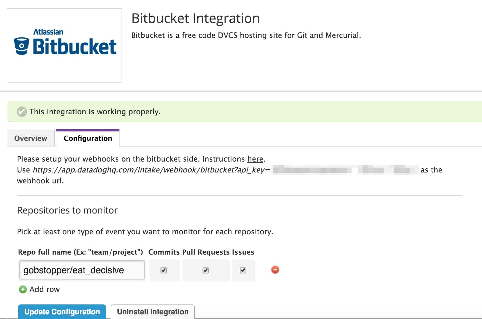 bitbucket config in Datadog